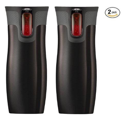 Contigo Autoseal Travel Mug - Stainless Steel Vacuum Insulated Tumbler - 2 Pack (Black) by Contigo