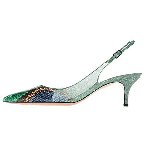 Vocosi Slingbacks Pompen Voor Vrouwen, Laag Kitten Heels Comfortabele Puntige Teen Pompen Schoenen Groen / Slangenhuid