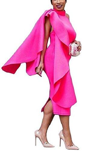 Jaycargogo Des Femmes De Manches À Volants Moulante Sexy Robe De Bal Clubwear Midi 1