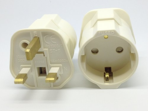 VCT VP-120 Europe German Shucko Plug to Grounded UK, Hong Kong, Singapore, UAE Grounded Travel Adapter Plug with Fuse
