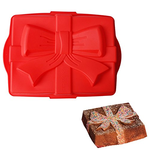 SuperStores Bow Silicone Cake Mold 3D Large Baking Tray Chocolate Fondant Bread Mold DIY Birthday Cake Decorating Tools(Random Color)