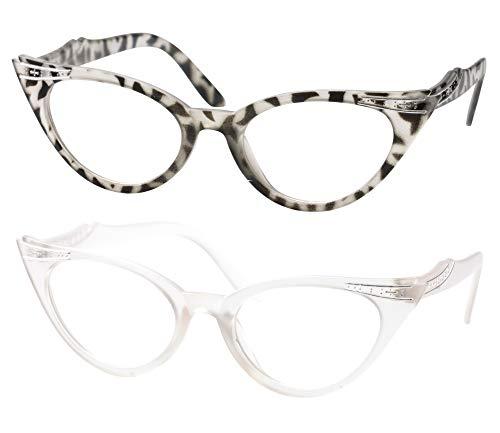 SOOLALA Womens Vintage Cateyes 80s Inspired Fashion Reading Glasses with Rhinestones, TransGray, 3.5 -