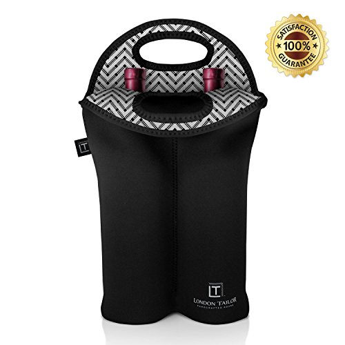 LONDON TAILOR Neoprene 2 Bottle Wine Carrier - Insulated Neoprene Wine Tote Purse for 2 Standard Sized Bottles - Well Built BYOB Tote - Better Quality Than Other Carriers & Totes on Amazon (Opus One Gift Basket)