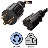 NEMA L6-20P to 6-20R Plug Adapter - 1 Foot, 20A/250V, 12 AWG - UL Listed - Iron Box # IBX1816-01M