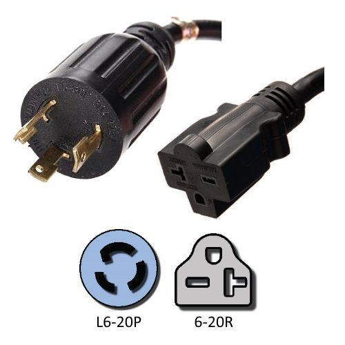 NEMA L6-20P to 6-20R Plug Adapter - 1 Foot, 20A/250V, 12/3 SJT - Iron Box # - Outlet Install 20a