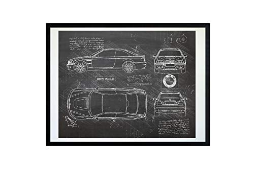 DolanPaperCo #412 BMW M3 E46 (2001-06) Art Print, da Vinci Sketch - Unframed - Multiple Size/Color Options (11x14, Blackboard) (Bmw E46 Type)