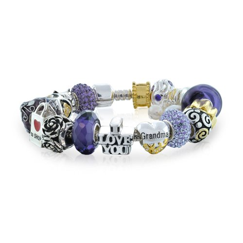 Bling Jewelry Purple Enamel Grandma Bead Charm Bracelet 925 Silver by Bling Jewelry