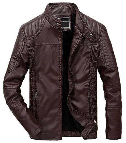 Itemnew Men's Winter Pleated Side Zip Fleece Lined Moto Faux Leather Rider Jacket (Medium, Coffee)
