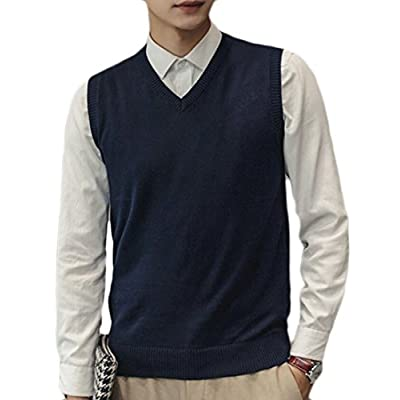Pivaconis Mens Stylish Contrast Color Slim Fit Knitted Pullover Sweater