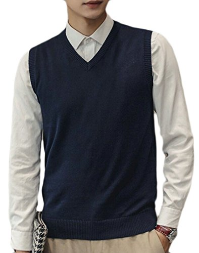 Alion Men V-Neck Cotton Slim Fit Casual Knitted Vest supplier