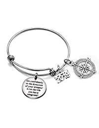 Go Confidently in The Direction Your Dreams Bangle Bracelet 2019 Compass Graduation Gift Stainless Steel