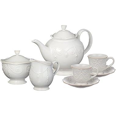 Lenox French Perle Tea Set, 7-piece, White