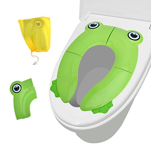 Potty Little Chair (Travel Potty Toilet Potty Training Seat Covers Upgrade Folding Large Non Slip Pads for Baby Toddler Kids Reusable (Frog-Green))