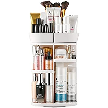 Jerrybox Makeup Organizer Rotating Bathroom Vanity Makeup Organizer, Compact Size with Large Capacity, Fits Different Types of Cosmetics and Accessories