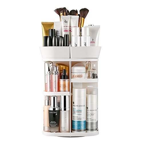 Jerrybox Makeup Organizer 360-Degree Rotating Adjustable Multi-Function Cosmetic Storage Box, Compact Size with Large Capacity, Fits Different Types of Cosmetics and Accessories, White