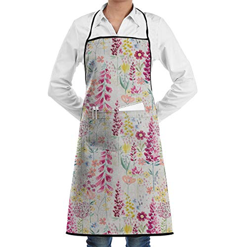 John Lewis&Partners Flora Apron Lace Unisex Mens Womens Chef Adjustable Polyester Long Full Black Cooking Kitchen Aprons Bib with Pockets for Restaurant Baking Crafting Gardening BBQ Grill ()