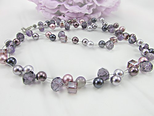 (Swarovski Crystal Pearl Illusion Necklace with Purple and Burgundy Crystals)