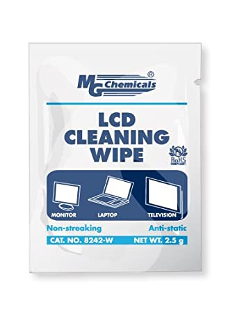 """MG Chemicals 8242-W LCD Cleaning Wipe, 6"""" Length x 5"""" Width (Box of 25)"""