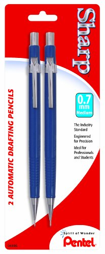 Pentel Sharp Automatic Pencil, 0.7mm, Blue Barrels, 2 Pack (P207BP2-K6)