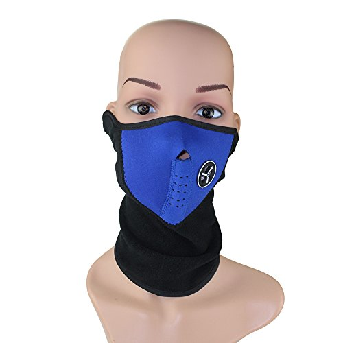 Ezyoutdoor Neoprene Bicycle Motorcycle Snowboard Ski Cycling Half Face Mask with a Cutout for Nose Breathing Neck Warmer for Men and Women (Blue)