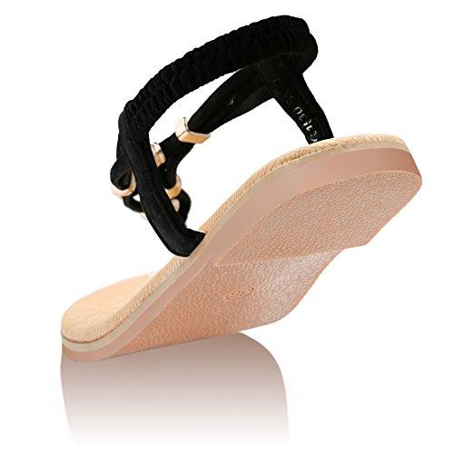 ZOEREA Femmes Flattie Noir Eté Flops Plat Flip Chaussures Tongs Sandale rHFrnpx