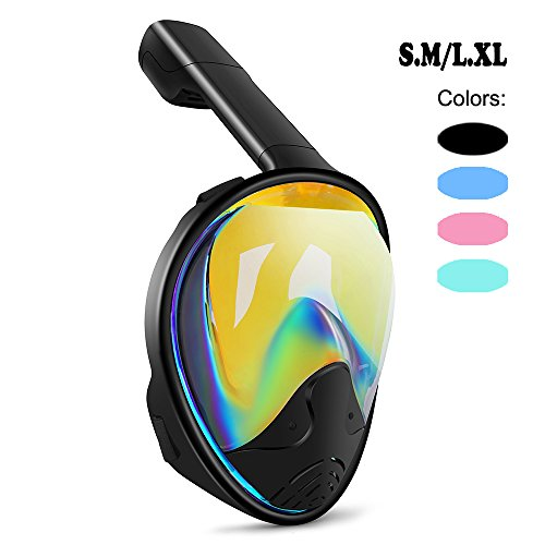 Full Face Snorkel Mask 180° Panoramic View Snorkeling Diving Mask Goggle Anti-Leak Anti-Fog Easy Breathing with Adjustable Head Straps for Adults Youth Kids (Anti-UV Black+Black, Large)