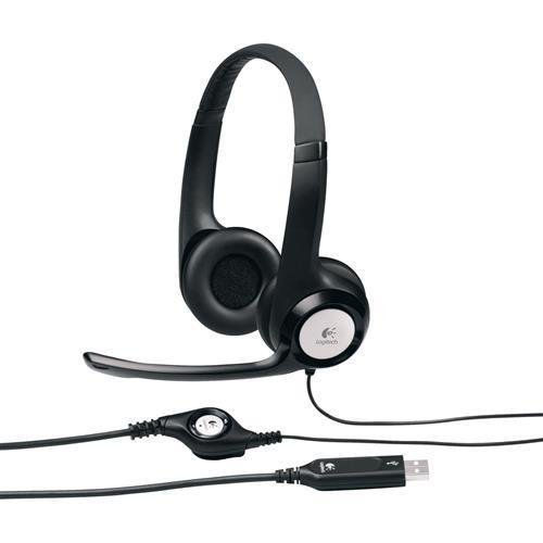 981-000014 Logitech USB Headset H390 - Stereo - Black, Silver - USB - Wired - 20 Hz - 20 kHz - Over-the-head - Binaural - Circumaural - 8 ft Cable - Noise Cancelling Microphone - Logitech H390