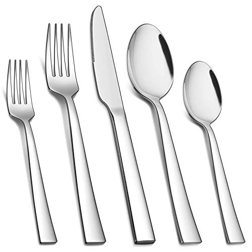 Homikit 40-Piece Silverware Flatware Set, Stainless Steel Square Cutlery Set for 8, Eating Utensils Tableware Include…