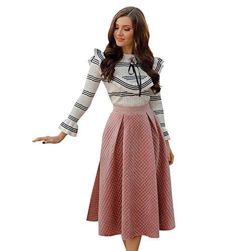 (Chicwish Women's Diamond Grid Embroidered Pink A-line Prom Midi Quilted Velvet Skirt, Pink, X-Small)