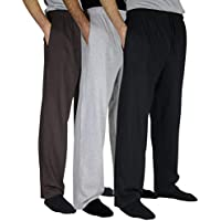 Real Essentials 3 Pack:Men's 100% Cotton Comfy Jersey Knit Pajama Pants/Lounge Pants S-3XL