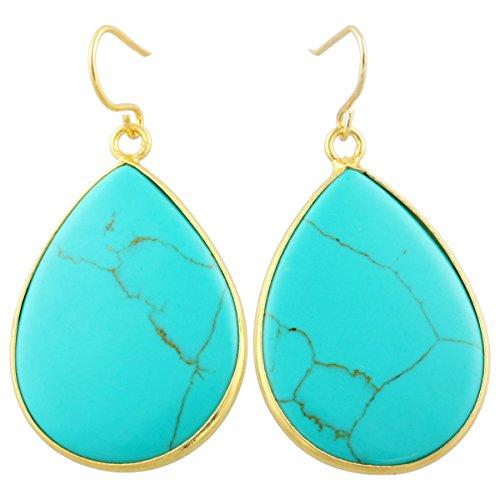 (SUNYIK Women's Green Howlite Turquoise Teardrop Hook Dangle Earrings)