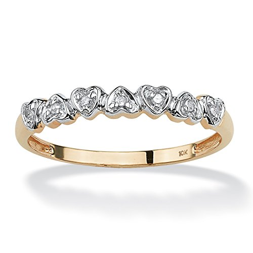 Solid 10K Yellow Gold Diamond Accent Multi Heart Promise Ring