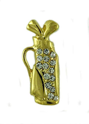 Lilylin Designs Small Gold-Plated Crystal Golf Bag and Clubs Tac Pin - Golf Tac Pins