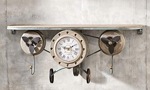 Gift Craft Vintage Airplane Antique Gold Tone 23 x 10 Iron and Wood Wall Art Clock Shelf ()