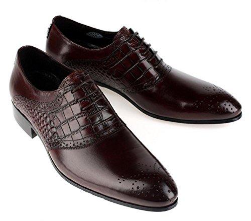 Hombres Inteligente Cuero Oxford Zapatos Toro castrado Puntiagudo Dedo del pie Encajes Formal Boda Negocio Casual para Hombres Negro marrón tamaño 38-44 brown