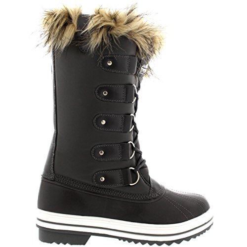 Snow Cuff Shoe Winter Tall up Leather Rain POLAR Womens Waterproof Boots Rubber Sole Grey Lace TzccFq5w