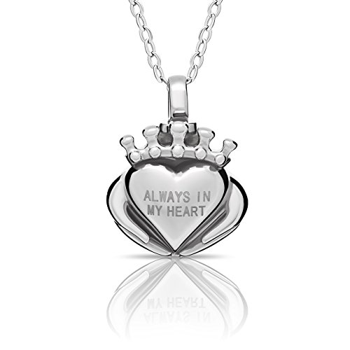 Cremation Urn Tiny Heart Necklace Floating Silver Heart Necklace Simple Heart Charm Modern Ash Keepsake Memorial Pendant, Minimalist Jewelry Necklace 16 inch + 2 Extn w Clasp (14k White Gold Venetian Glass)