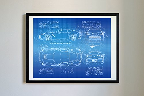 DolanPaperCo #250 Corvette Stingray C7 2013 Art Print, da Vinci Sketch - Unframed - Multiple Size/Color Options (17x22, Blueprint)