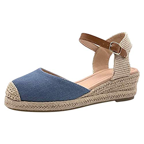 - TIFENNY Wedge Sandals Women's Buckle Ankle Strap Sandals Round Toe Close Toe Sandals Summer Weaving Breathable Shoes Blue