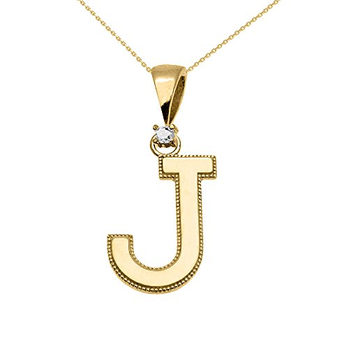 """Collier Femme Pendentif 10 Ct Or Jaune Poli Élevé Milgrain Solitaire Diamant """"J"""" Initiale (Livré avec une 45cm Chaîne)"""
