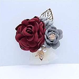 S_SSOY Boutonniere Groom Bridegroom Men's Silk Lapel Brooch Boutonniere Groomsmen Best Man Boutineer Corsage with Gold Leaf Flower for Wedding Prom Homecoming Party 57