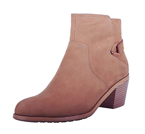 Verocara Women's Genuine Leather Chunky Heel Ankle Booties