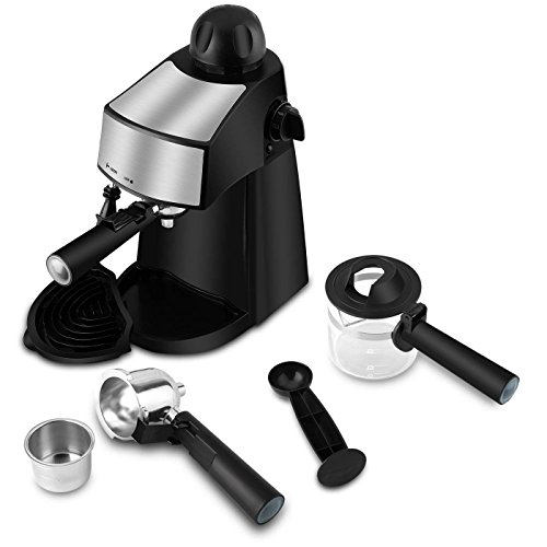 Steam Espresso Machine 800W 4 Cup Stainless Steel Espresso Cappuccino Latte Coffee Maker with Milk Frother and Carafe by SOWTECH (Image #4)