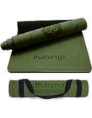 Dharana Yoga Mat Non Slip Pro Eco Vriendelijk TPE Dik 6mm Met Draagband - Mat met Uitlijning Voor Sport – Workout Mat Fitness Pilates Gym- Set Kit…
