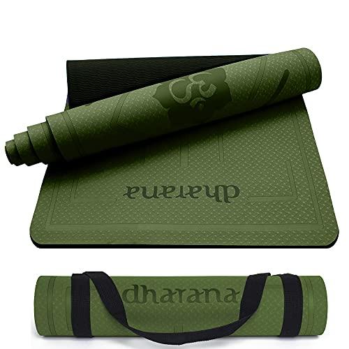 Dharana Yoga Mat Non Slip Pro Eco Vriendelijk TPE Dik 6mm Met Draagband – Mat met Uitlijning Voor Sport – Workout Mat…