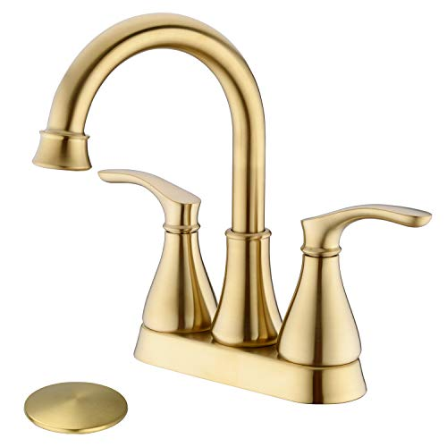 TRUSTMI 2-Handle 4-Inch Centerset Bathroom Sink Faucet with Pop Up Drain Assembly and Water Supply Hose Deck Mounted Lavatory Countertop Mixing Faucet, Brushed Gold ()