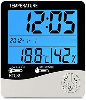 CHenXy 室内温度計、湿度計デジタルモニタ、家庭、オフィス、温室効果、ワインセラー、ブラックに適した目覚まし時計、カレンダー、 湿度計温度計 (Color : Black)