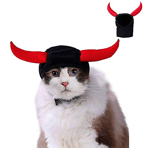 Ausein Cat Devil Horns Hat Costume for Cats Kitty Small Dogs Puppy, Cat Halloween Festival Decoration -