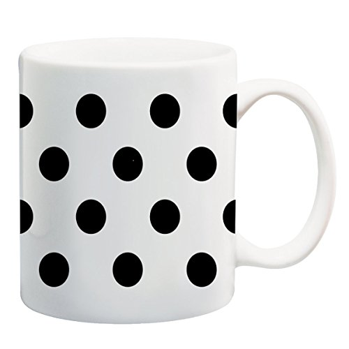 Black Polka Dot Polka Dots White Background 11 ounce Ceramic Coffee Mug Tea Cup by Moonlight Printing ()