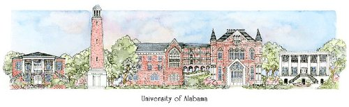 University of Alabama - Collegiate Sculptured Ornament by Sculptured Watercolor Ornaments